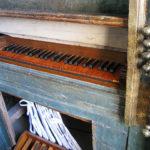 Tastiera e registri dopo il restauro.