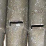 Notazione alfabetica a inchiostro su canne del Flauto