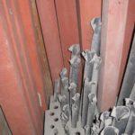 Canne lignee e metalliche interne prima del restauro